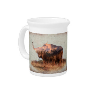 Wild yak - Yak nepal - double exposure art - ox Pitcher