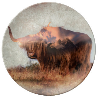 Wild yak - Yak nepal - double exposure art - ox Plate