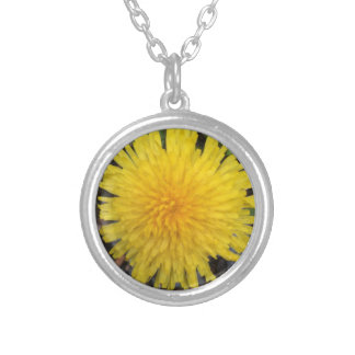 Wild Yellow Dandelion in Summer Silver Plated Necklace