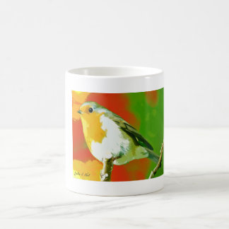 Wild Yellow White Green Robin Bird On Tree Branch Magic Mug