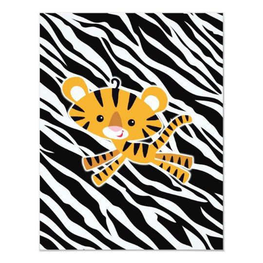 wild zebra blue baby shower invitations! card