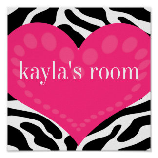 Wild Zebra & Pink Heart Personalised Wall Poster