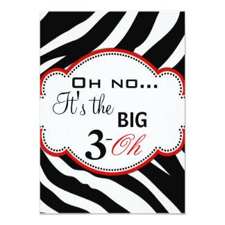Wild Zebra Print Dirty 30 Invites