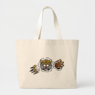 Wildcat American Football Mascot Large Tote Bag