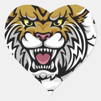 Wildcat Basketball Ball Mascot Heart Sticker