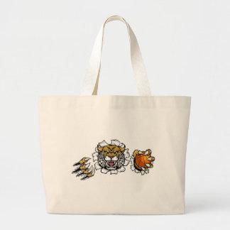 Wildcat Basketball Ball Mascot Large Tote Bag