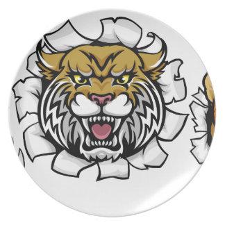Wildcat Basketball Ball Mascot Plate