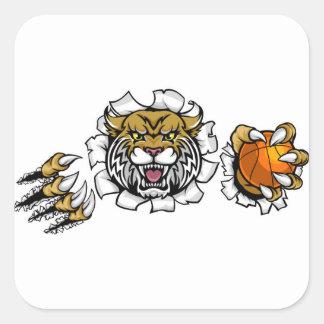 Wildcat Basketball Ball Mascot Square Sticker