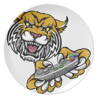 Wildcat Bobcat Player Gamer Mascot Plate