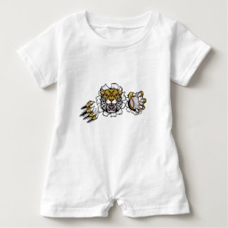 Wildcat Holding Baseball Ball Breaking Background Baby Bodysuit