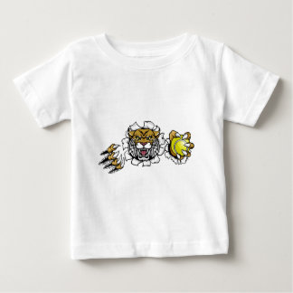 Wildcat Holding Tennis Ball Breaking Background Baby T-Shirt