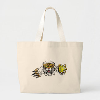 Wildcat Holding Tennis Ball Breaking Background Large Tote Bag