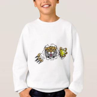 Wildcat Holding Tennis Ball Breaking Background Sweatshirt
