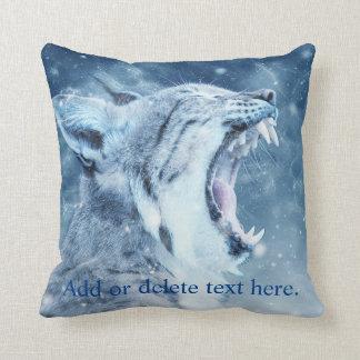Wildcat in snow throw pillow