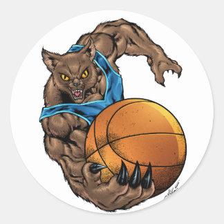 Wildcats Bobcats Basketball, Blue, L. Blue Stripe Classic Round Sticker