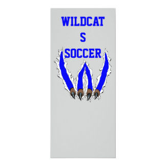 """Wildcats Claw Ripping Through Design - Blue 4"""" X 9.25"""" Invitation Card"""