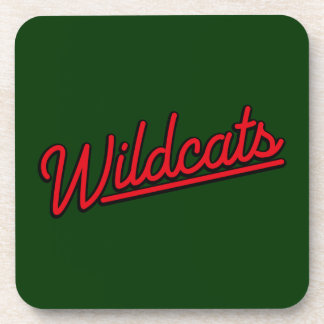 Wildcats in red beverage coaster