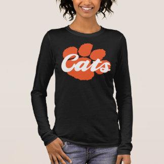 Wildcats Paw Ladies V-Neck Black 3/4 Sleeve Long Sleeve T-Shirt