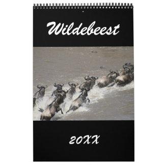 wildebeest africa wall calendar