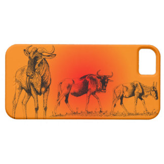 Wildebeests at sunset  Iphone case