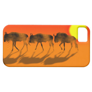 Wildebeests  in sunset IPhone case