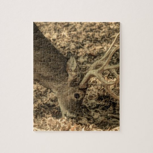 wilderness Camouflage outdoorsman whitetail deer Jigsaw Puzzle