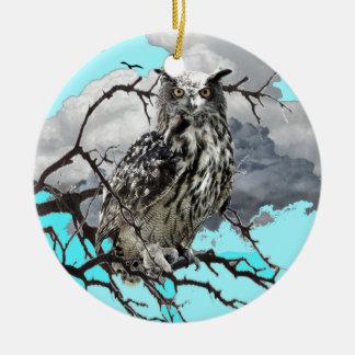 WILDERNESS OWL IN TREE &  BLUE  SKIES CERAMIC ORNAMENT