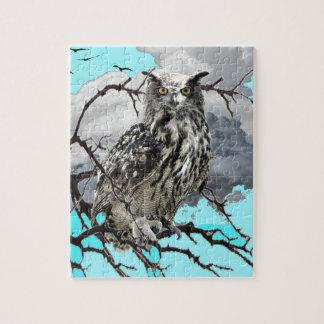 WILDERNESS OWL IN TREE &  BLUE  SKIES JIGSAW PUZZLE