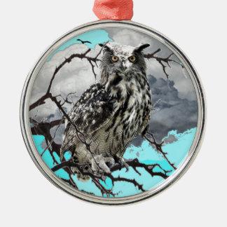 WILDERNESS OWL IN TREE &  BLUE  SKIES METAL ORNAMENT
