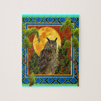 WILDERNESS OWL WITH FULL MOON PINE TREES JIGSAW PUZZLE