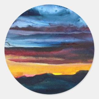 Wilderness Sundown Classic Round Sticker