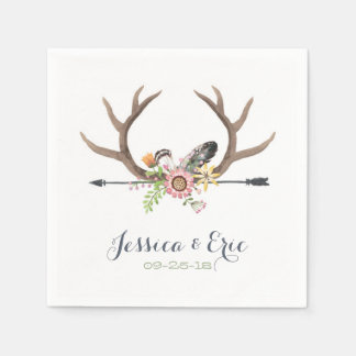 Wildflower Arrow and Antlers Disposable Serviettes
