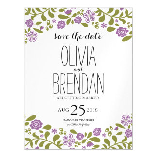 Wildflower Blossoms   Save the Date Magnetic Invitations