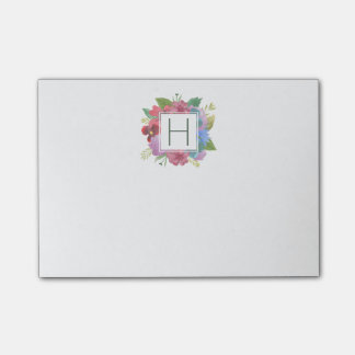 Wildflower Bouquet Monogram Post-it Notes