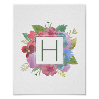 Wildflower Bouquet Monogram Poster