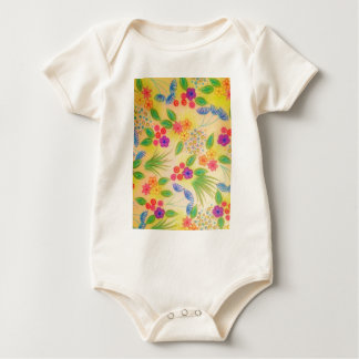 WILDFLOWER FANCY 1 - Cheerful Yellow Lovely Floral Baby Bodysuit