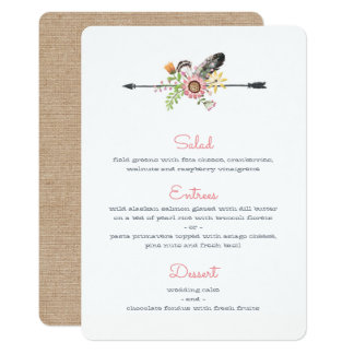 Wildflower Feathers and Arrow Menu Card