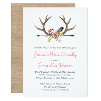 Wildflower Feathers and Arrow Wedding Card