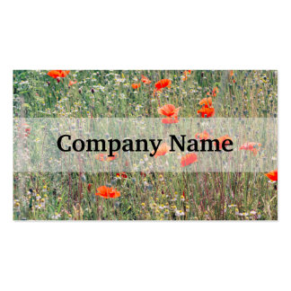 Wildflower Field and Red Poppies Blooming Pack Of Standard Business Cards