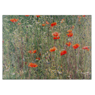 Wildflower Field and Red Poppies Blooming Cutting Boards