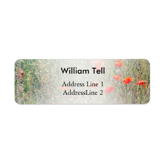 Wildflower Field and Red Poppies Blooming Return Address Label
