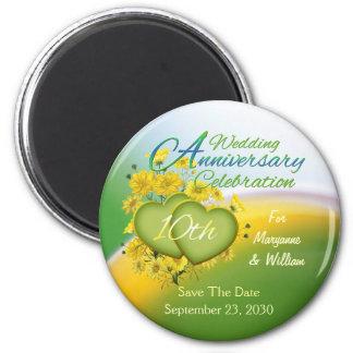 Wildflower Hearts 10th Wedding Anniversary Party 6 Cm Round Magnet