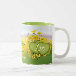 Wildflower Hearts 1st Wedding Anniversary Party Two-Tone Coffee Mug