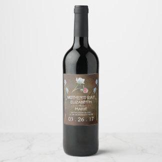 Wildflower Oak Wood Mother's Day Wine Label