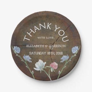 Wildflower Oak Wood Wedding 7 Inch Paper Plate