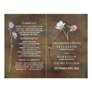 Wildflower Oak Wood Wedding Program Flyer