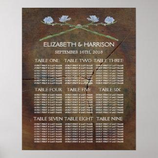 Wildflower Oak Wood Wedding Seating Chart