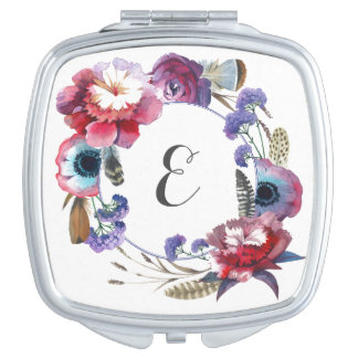 Wildflower Peony Floral with Feathers | Monogram Mirrors For Makeup