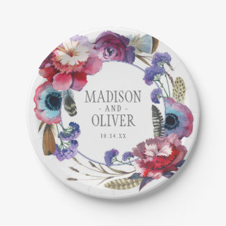Wildflower Peony Floral with Feathers | Wedding Paper Plate