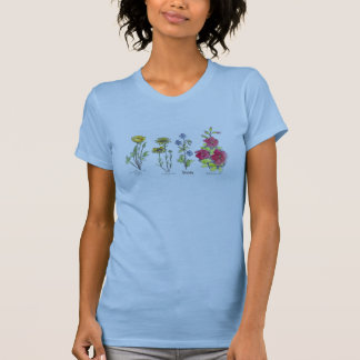 Wildflower Poppy Watercolor Plant Drawing T-Shirt